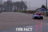 [TF포토] 태풍 하이선의 영향으로 물에 잠긴 도로