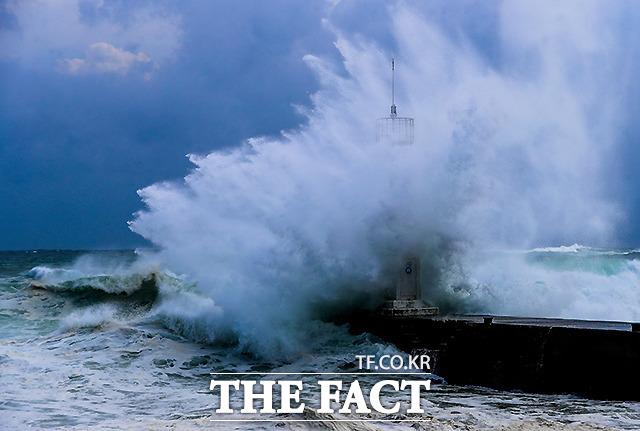 8월 25일 태풍 바비의 영향권에 들어선 제주 서귀포시 남원읍 태흥2리 앞바다에 거친 파도가 일고 있다. / 뉴시스