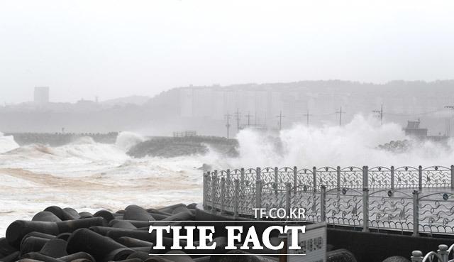 9월 7일 강원도 동해시 묵호항에 태풍 하이선으로 인한 파도가 강하게 치고 있다.