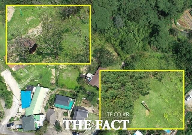 문제가 된 농지 363-4번지 뒤편(왼쪽 위 네모)으로는 과실수가 앞쪽으로는 나무와 함께 약초로 추정되는 식물이 자라고 있다. 드론으로 바라본 문 대통령 양산 사저 부지 전경. /임세준 기자