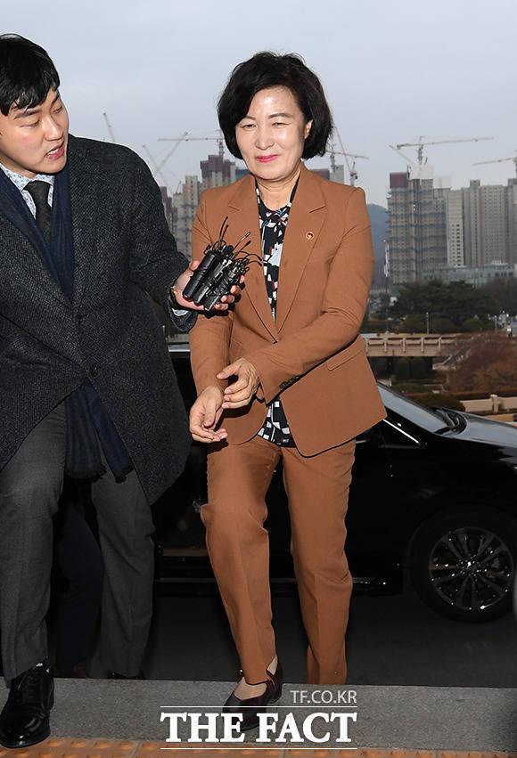 1월 6일 검찰 인사권 행사전 미소 지으며 출근하는 추미애 장관.