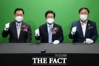 [TF사진관] 국회 열린 스튜디오 찾은 박병석 의장과 여야 원내대표