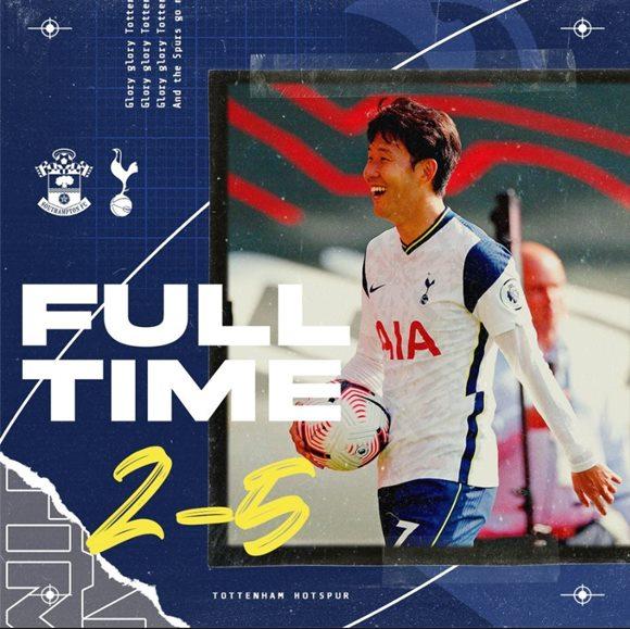 토트넘 홋스퍼의 손흥민이 20일 오후(한국시간) 열린 사우스햄튼과 경기에서 4골을 기록하며 팀의 승리에 기여했다. 이날 토트넘은 사우스햄튼을 5대 2로 이겼다. /토트넘 홋스퍼 공식 페이스북 캡처