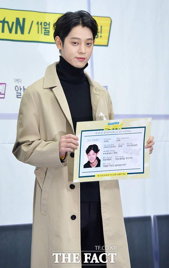 2017년, 방송 복귀해 다시 전성기 찾은 정준영. 사진은 tvN 예능 짠내투어 제작발표회.