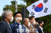 [TF포토] '개천절 광화문 집회 중단 선언 기자회견' 발언하는 김문수