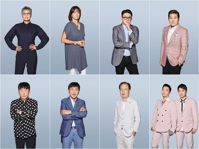트로트의 민족은 이은미, 박칼린, 김현철, 진성, 알고보니 혼수상태, 정경천, 박현우, 이건우(이상 왼쪽 위부터 시계방향) 8팀이 심사위원으로 출연한다. /MBC 제공