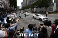 [TF포토] '드라이브 스루' 집회 벌이는 애국순찰팀
