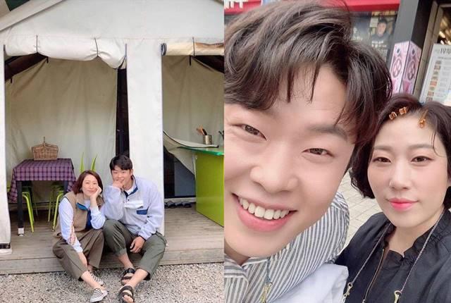 코미디언 김영희가 결혼 발표 후 예비 신랑 윤승열과 함께한 다정한 모습을 공개했다. /김영희 SNS