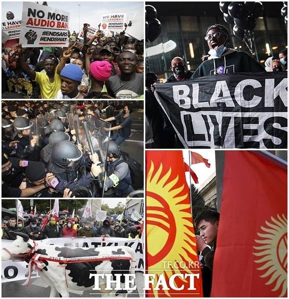 전세계적으로 코로나19의 확산이 이어지는 가운데 세계 곳곳에서 대규모 시위가 벌어지고 있다. 왼쪽 위부터 시계방향으로 나이지리아, 미국 뉴욕, 키르기스스탄, 폴란드, 태국. /AP.뉴시스