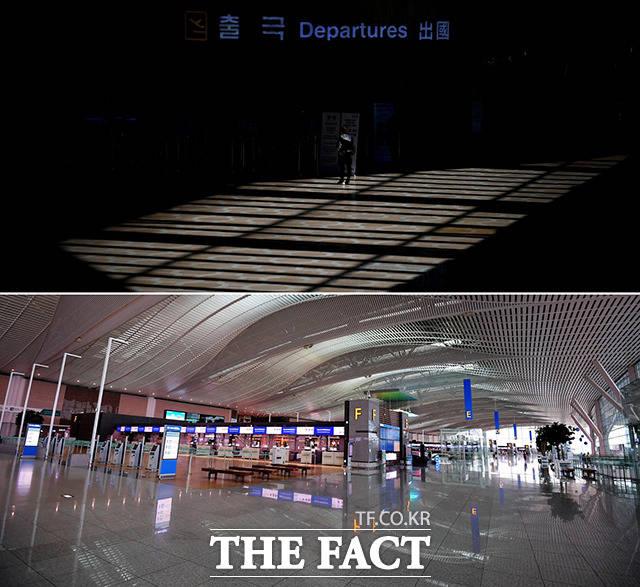 <침체된 국제공항> 해외여행이 어려워지면서 김포국제공항과 인천국제공항이 한산해졌다. 코로나19로 인해 큰 피해를 입은 여행업계는 정부의 지원에도 불구하고 여전히 어려움을 호소하고 있다.