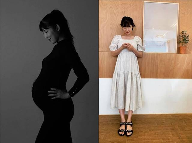 사유리가 만삭 사진을 공개하고 임신과 출산 소식을 전했다. /사유리 SNS