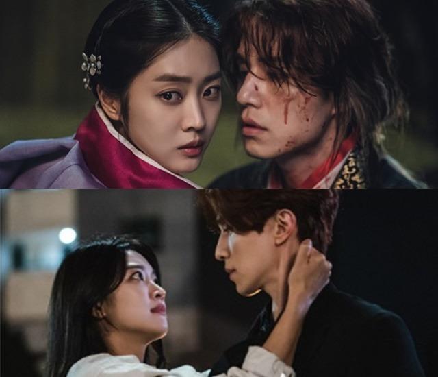 극중 조보아(왼쪽)는 수차례 환생 끝에 600년 만에 재회한 이동욱과 달달한 러브라인을 그리고 있다. /tvN 제공