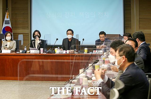 금태섭 전 의원이 18일 오전 국회 의원회관에서 열린 명불허전 보수다 모임 강연에 참석한 모습. /이새롬 기자