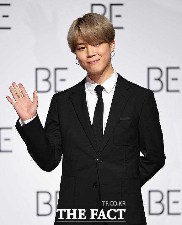 그룹 방탄소년단(BTS) 지민이 20일 오전 서울 동대문디자인플라자에서 열린 BE(Deluxe Edition) 글로벌 기자간담회에 참석해 포즈를 취하고 있다. /이새롬 기자