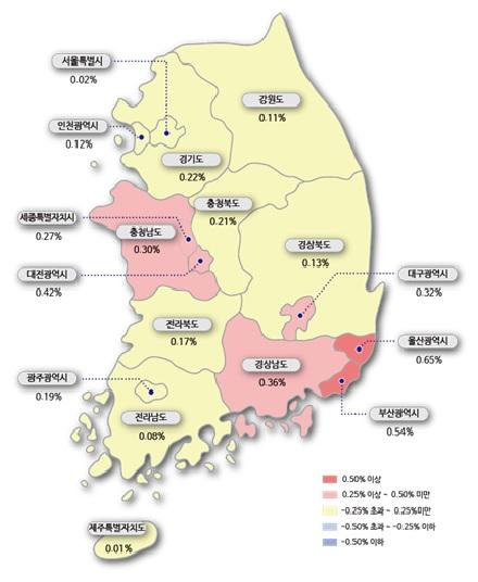 11월 넷째 주(11월 23일 기준) 시도별 아파트 매매가격지수 변동률. /한국감정원 제공
