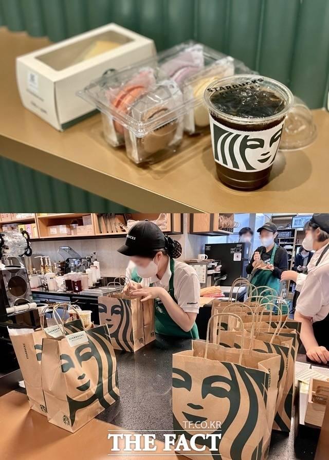스타벅스는 배달 도중 음료가 새는 것을 방지하기 위해 컵을 밀봉해 배달한다. 사진은 밀봉 상태의 음료와 푸드(위) 모습과 배달 준비가 한창인 내부 모습. /역삼=이민주 기자
