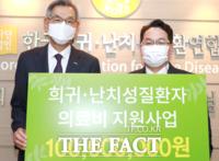 건협, 한국희귀・난치성질환연합회에 의료비 1억원 전달