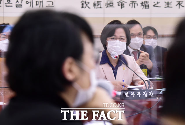 지난 9월 23일 열린 법사위 전체회의에서 김진애 의원과 조수진 의원은 추미애 법무부 장관의 답변 태도를 놓고 날을 세우기도 했다. /남윤호 기자
