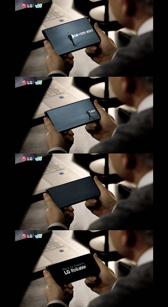 LG 롤러블은 양쪽을 펼쳐 사용하는 차세대 폼팩터(기기 형태)로, 사용하지 않을 때는 돌돌 말아 보관이 가능하다. /유튜브 갈무리