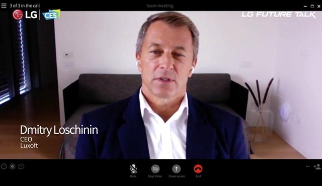 LG전자는 스위스에 본사를 둔 글로벌 소프트웨어 기업 룩소프트와 설립한 조인트벤처 알루토가 오는 27일 출범한다고 밝혔다. 사진은 드미트리 로스치닌 룩소프트 CEO 모습. /유튜브 갈무리