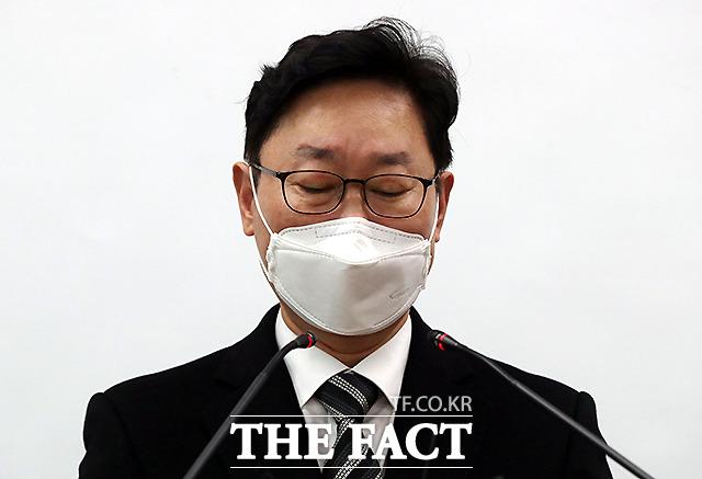 박범계 법무부장관 후보자가 서울 서초구 서울고검 기자실을 찾아 브리핑을 하고 있다./이새롬 기자