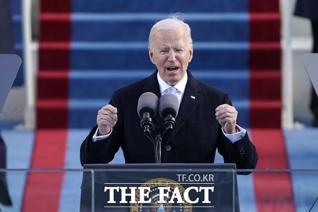 20일(현지시간) 조 바이든 미국 제46대 대통령이 공식 취임했다. 바이든 대통령은 취임 연설에서 나는 여러분들에게 이걸 약속한다. 나는 모든 미국인을 위한 대통령이 될 것이라고 밝혔다. /AP.뉴시스