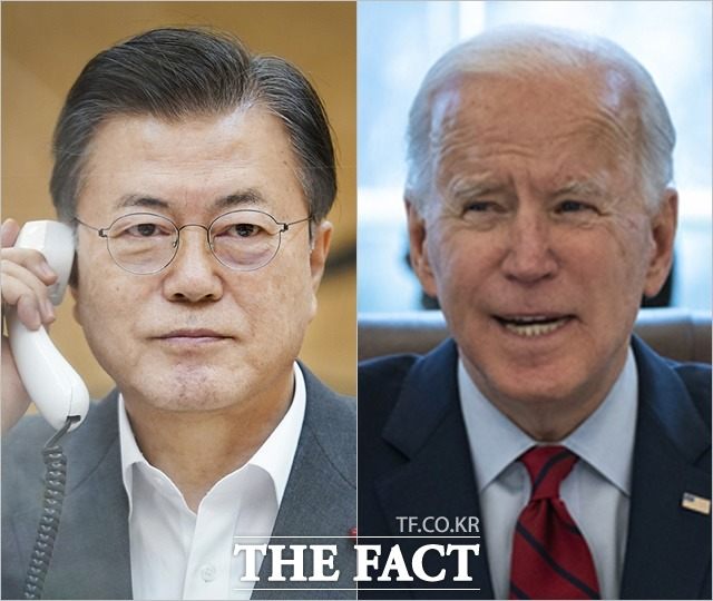 문재인 대통령(왼쪽)과 조 바이든 미국 대통령의 북한 핵 문제 해결에 대한 인식에 간극이 있다는 정황이 속속 드러나고 있다. /청와대, 뉴시스