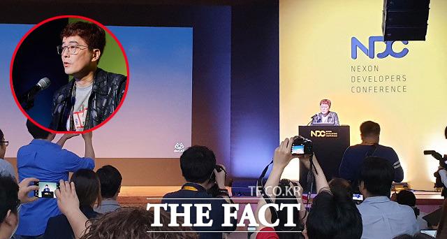 김동건 넥슨 데브캣 총괄 프로듀서가 2019년 4월 24일 경기창조경제혁신센터에서 2019 넥슨개발자콘퍼런스(NDC) 기조연설을 하고 있다. /최승진 기자·넥슨 제공