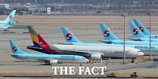 23일 인천국제공항 주기장에 보잉 777 기체가 주기돼있다.