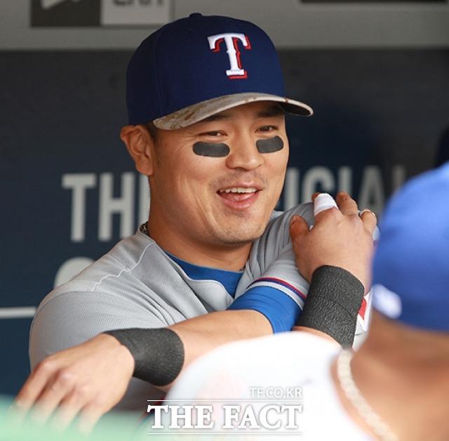 밝게 웃는 텍사스 레인저스의 추신수.