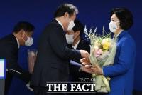 '민주당 서울시장 후보에 박영선'… 예비후보 축하는 이낙연 [TF사진관]