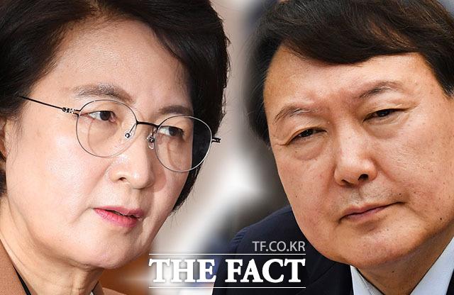 추미애(왼쪽) 전 법무부 장관과 윤석열 검찰총장. /그래픽=김세정 기자