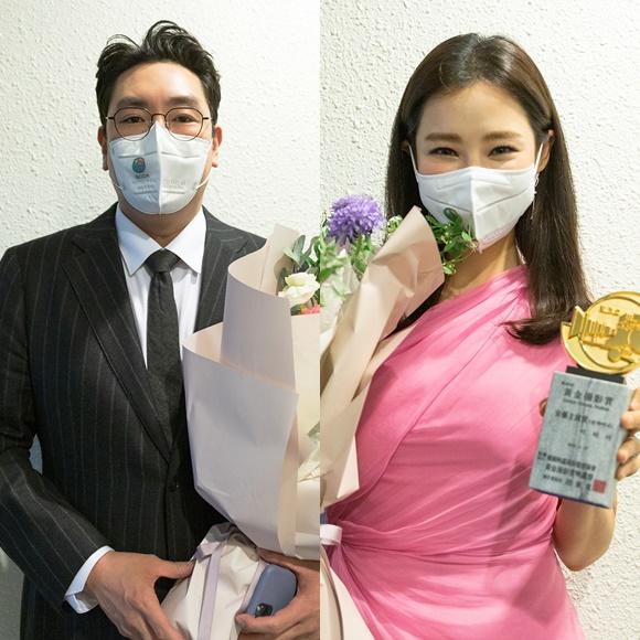 조진웅(왼쪽) 이하늬는 최우수 남녀 주연상 수상의 영예를 안았다. /사람엔터테인먼트 제공
