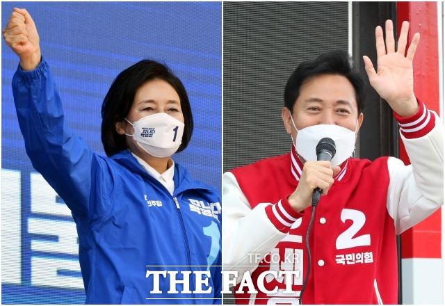 출근 인사를 시작으로 본격 유세에 나선 박 후보(왼쪽)와 오 후보.