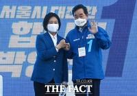 지지 호소하며 손 흔드는 박영선-이낙연 [TF사진관]