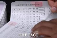 투표 용지에 '사퇴' 표기된 안철수 후보 [포토]