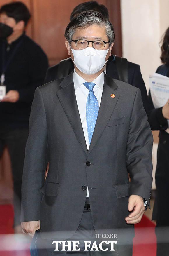 회의장으로 들어오는 변창흠 국토교통부 장관.