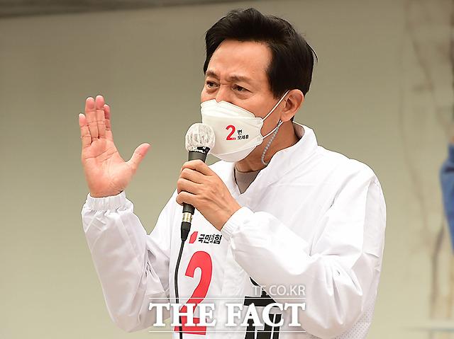 2일 오세훈 국민의힘 서울시장 후보가 서울 마포구 상암동DMC 인근에서 연설하는 모습. /이새롬 기자