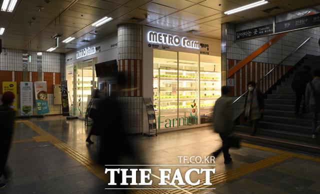 서울 지하철 2호선 을지로3가역 내에 위치한 메트로팜.