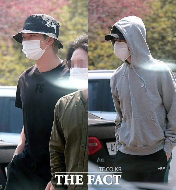 방탄소년단의 RM(왼쪽)과 지민이 4.7 재보궐선거 투표를 위해 7일 오전 서울 용산구 한남동 제3투표소를 방문하고 있다. /이선화 기자