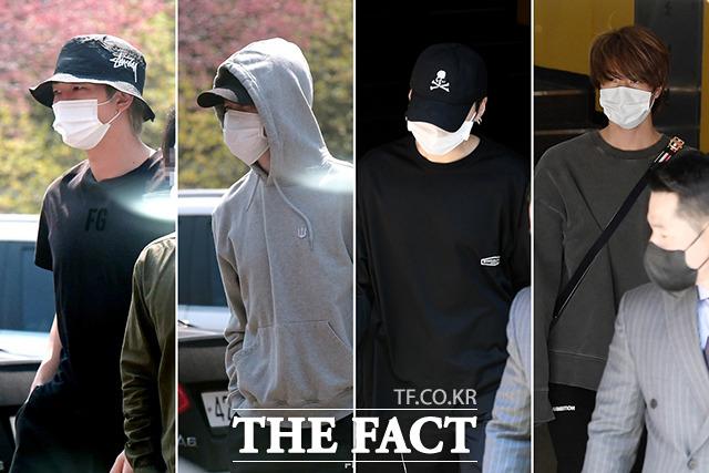 방탄소년단의 RM, 지민, 슈가, 진(왼쪽부터)이 4.7 재보궐선거 투표를 위해 7일 오전 서울 용산구 한남동 제3투표소를 방문하고 있다. /이선화 기자