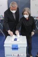 부인과 함께 투표하는 김종인 [TF사진관]