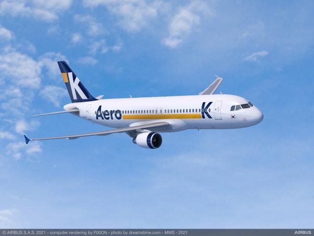 에어로케이가 에어버스 A320ceo 첫 운항을 마쳤다. /에어로케이 제공