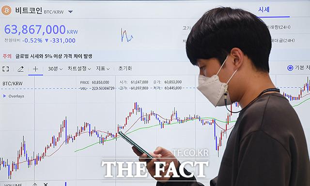 비트코인 시세가 변동성을 보이고 있는 27일 오후 서울 마포구의 한 사무실에 비트코인 가격이 표시되고 있다. /이동률 기자