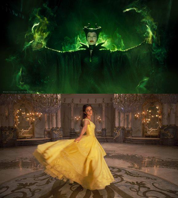 배우 안젤리나 졸리는 영화 말레피센트 1, 2를 통해 대체 불가한 연기를 선보였고(사진 위), 엠마 왓슨은 미녀와 야수에서 벨 캐릭터를 완벽히 소화했다. /영화 스틸컷