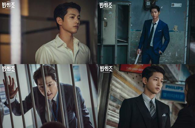 송중기는 빈센조에서 변호사지만 마피아식으로 사건을 처리하는 빈센조역을 맡아 열연을 펼쳤다. /tvN 제공