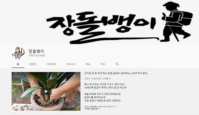 반려식물 콘텐츠를 제작하는 유튜버가 관심을 받고 있다. 사진은 구독자 20만 명을 보유한 장돌뱅이 채널. /유튜브 갈무리