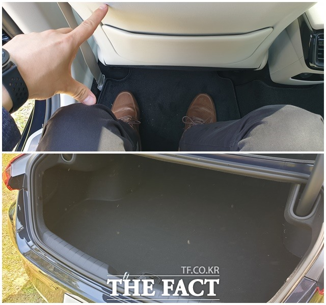 K8 하이브리드는 넉넉한 2열 무릎공간과 더불어 골프백을 일자로 넣을 수 있는 트렁크 공간을 확보했다. /서재근 기자
