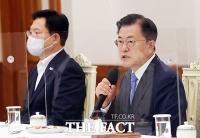 민주당 지도부 초청 간담회서 발언하는 문재인 대통령 [TF사진관]