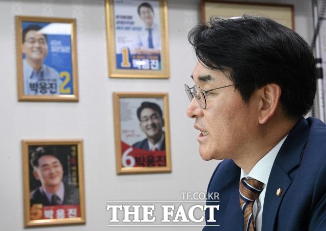 박 의원은 기득권, 주류 카르텔과 맞선 의정활동 경험을 통해 대통령을 꿈꾸게 됐다고 말했다. /남윤호 기자